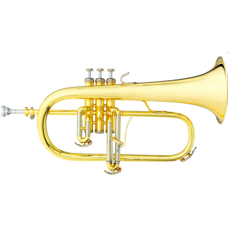 """B&S """"Challenger I"""" Professional Flugelhorn - Gold Brass Bell"""