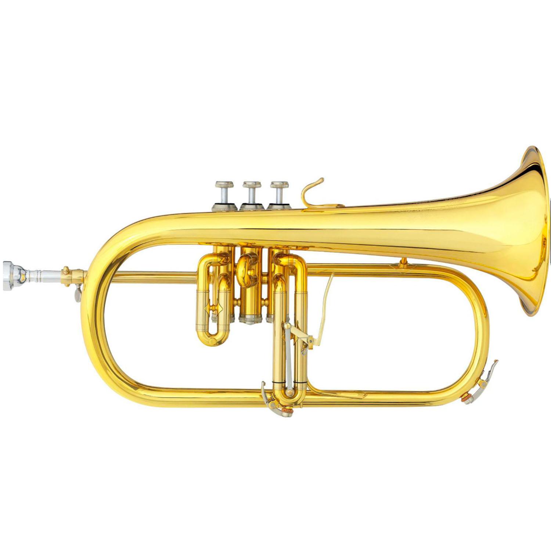 """B&S """"Challenger II"""" Professional Flugelhorn - Gold Brass Bell"""